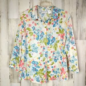 🌿 Alfred Dunner Floral Eyelet Button Down Shirt